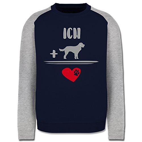Statement Shirts - Hunde-Liebe - Herren Baseball Pullover Navy Blau/Grau Meliert
