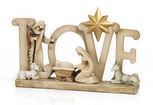 Paben presepe, natività, stilizzata love, 19,4 cm in resina by