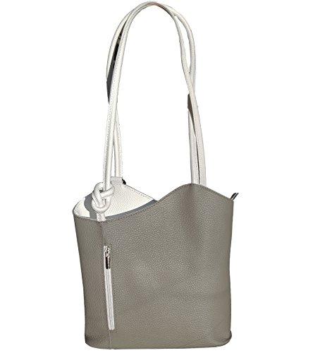 Freyday 2 in 1 Handtasche Rucksack Designer Luxus Henkeltasche aus Echtleder in versch. Designs (Glattleder Grau-Weiß)
