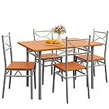 Deuba 5tlg. Sitzgruppe Paul Kastanie | Esstisch mit 4 Stühlen | Für Esszimmer Küche und Balkon Essgruppe Tisch Stuhl Set