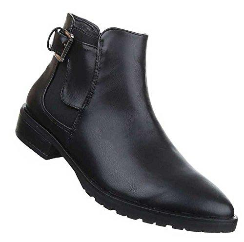 Damen Stiefeletten Schuhe Chelsea Boots Schwarz Schwarz