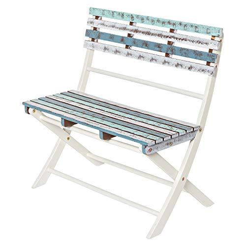 Deliano - Gartenbank aus Holz - platzsparend klappbar für Balkon und Terrasse, Boat Shabby Look - 2-Sitzer