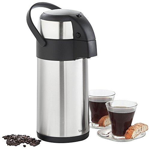 VonShef Edelstahl Pump-Isolierkanne-Thermoskanne Airpot für Tee, Kaffee und Suppe (3L)