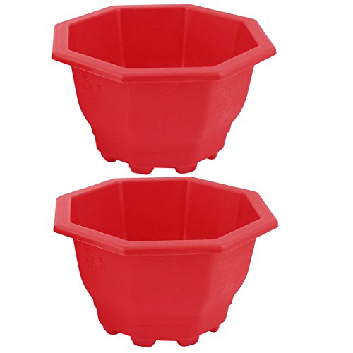 Preisvergleich Produktbild 2Stück Blau Rot Plastik Oktagon Garten Blumenkübel Blumenfässer Blumentopf
