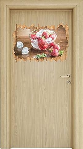 Frische Erdbeeren in Eiswürfeln Bunstift Effekt Holzdurchbruch im 3D-Look , Wand- oder Türaufkleber Format: 62x42cm, Wandsticker, Wandtattoo, Wanddekoration