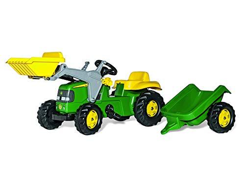 Rolly Toys Trettraktor Rolly Toys 023100 rollyKid John Deere | Trettraktor mit Lader und Anhänger | Traktor mit Motorhaube zum Öffnen | Schauffellader/Frontlader für Kinder ab 2,5 Jahren | Farbe grün