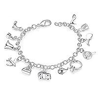 BESTPICKS 925 Sterling Silver 12 Pendants Charms Bangle Bracelet Gift for Woman