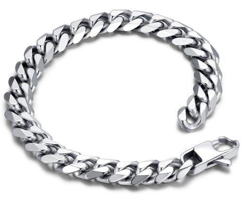 Edelstahl Herren poliert Panzerkette Armband 23cm (Farbe Silber) - G6024y1