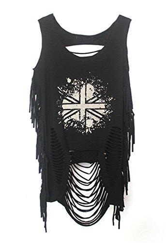 Femmes sexy mode sans manches d'impression Punk Hip Hop trous Tassel Vest Top Shirt C