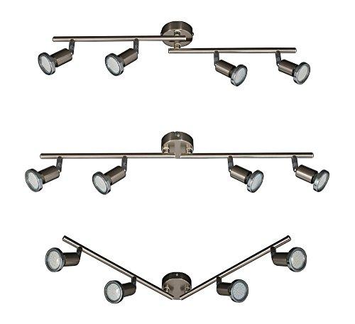 Vier Helle Eisen (Trango 4 flammig LED Deckenlampe Deckenstrahler Spots inkl. 3Watt LED Leuchtmittel 3000K warm-weiß TG2935-042B)