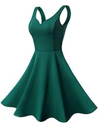 5f90810f489 50er Retro Kleid Rockabilly Damen Ärmellos Kleider Abendkleid Herzform  Minikleid