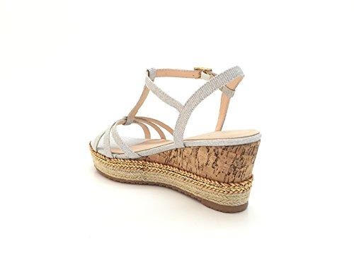 CHIC NANA . Sandale plateforme compensée en effet liège, semelle doublée de corde, attache brillant. silver