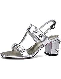 Schuhe LYY.YY Frauen Starke Ferse Sandalen Mode Sandalen Süße Quadratische Kopf Vorne und Hint