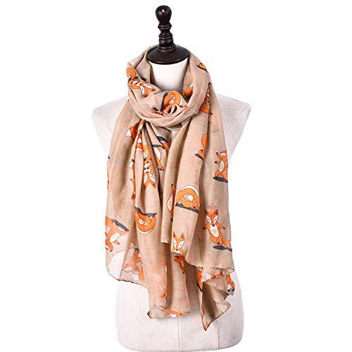 Xiaochou@sl Vier Jahreszeiten Schal Balinese Garn Fox Print Niedlichen Schal Multifunktions Kaltkühlung Gegenmaßnahme 6 Farben für Frauen zu wählen (Color : Khaki) -