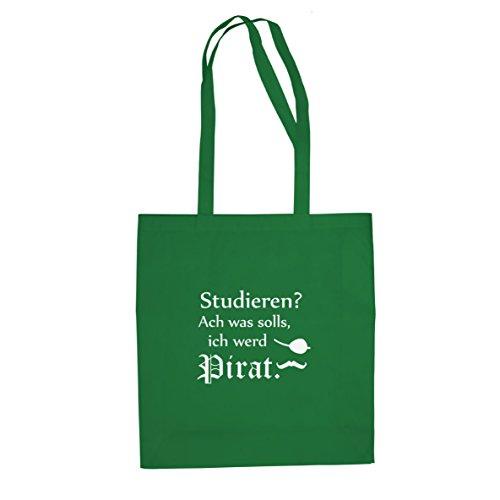 Ich werd Pirat -Stofftasche / Beutel, Farbe: grün