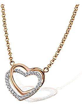 Goldmaid Damen-Herz-Halskette 925 Sterlingsilber rot vergoldet weiße Zirkonia rosegold Herzanhänger