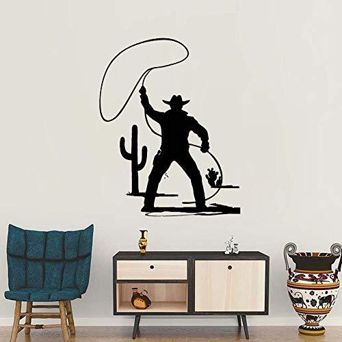 lyclff Neue Ankunft Wandaufkleber Aufkleber Wild West Cowboy Hut Western Style Horse Bull Vinyl Wandtattoos Wohnzimmer Wandhauptdekor 56 * 70 cm