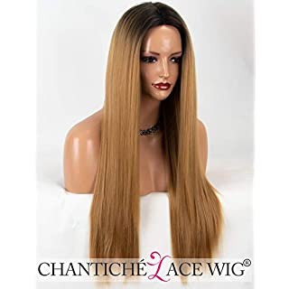 Chantiche Natural Looking Ombre Honey Blonde Wig Black Rooted Long Straight Machine Made Synthetic Wigs for Black Women Middle Part Heat Resistant #27 Color 22 Inches