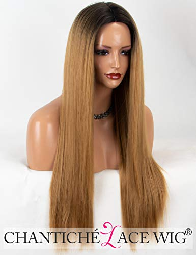 Chantiche Natural Looking Ombre Honey Blonde Wig Black Rooted Long Straight Synthetic Wigs for Black Women Middle Part Heat Resistant -