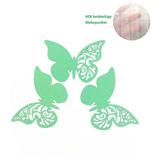 ElecMotive 50Tlg Schmetterling Tischkärtchen Wandsticker Namenskärtchen Platzkarte Namensschild für Hochzeiten Feste Partys (Grün)
