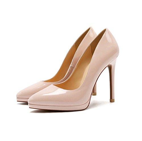 1d79d11826 Moda Zapatos con Tacon Alto para Mujer Plataforma Elegante Fiesta Stiletto  (Beige