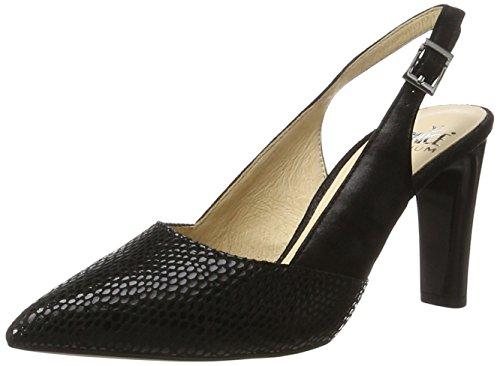 Caprice 29604, Sandales Bout Ouvert Femme Noir (Black Rept Com)
