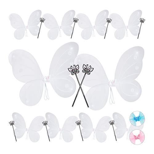 Relaxdays 10 x Feenflügel mit Zauberstab, Fee Kostüm Kinder, Flügel & Zepter, Glitzer, Mädchen, Feenset, weiß & - Weiße Fee Kostüm Flügel