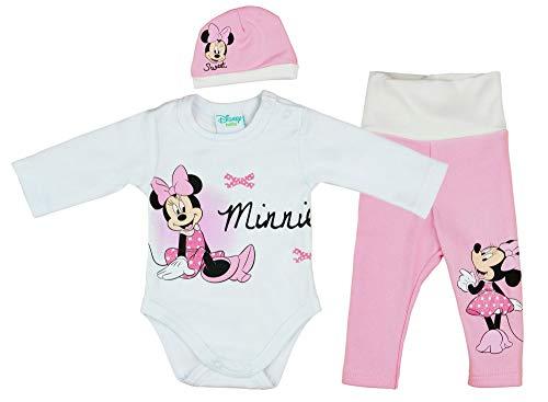 Disney Baby Mädchen Minnie Mouse 3-Teiler Set, Baby Outfit warm und dick, Langarm Baby-Body Baby-Mütze Baby-Hose Gr 56 62 68 74 80 für 0 3 6 9 Monate Geschenk für Weihnachten Farbe Pink, Größe 80 (Disney Set Baby-mädchen Bettwäsche)