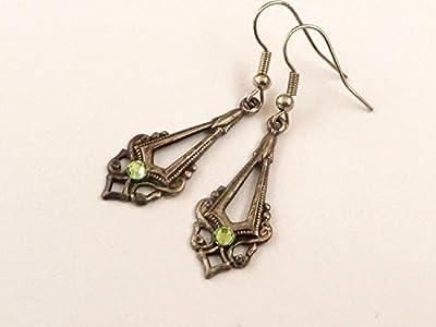Boucles d'oreilles élégantes en argent, 4 strass de couleurs à choisir
