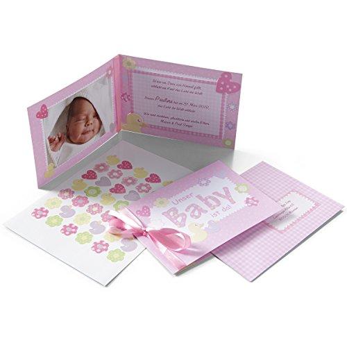 Geburtskarten, Babygrußkarten 'Pinkstar' - 15 niedliche Karten zur Geburt mit Satinschleife und Stickern - zum einfachen Selbstbedrucken