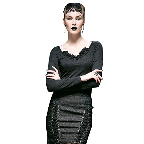 Punk Rave Frauen Punk Gothic Knit Jacquard Dunkles Fransen Bl¨¹tenblatt Runde Kragen T-Shirt Schwarz Langarm T-Shirt Bluse Casual Tops, 3XL (Top Knit Jacquard)
