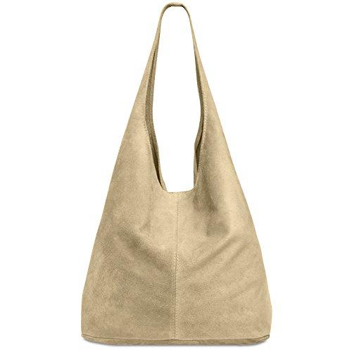 CASPAR TL767 Damen große Vintage Velourleder Tasche Ledertasche Beuteltasche Schultertasche Shopper Handtasche, Farbe:beige;Größe:One Size (Wildleder Collection Plätze)