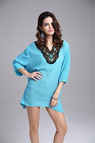 Beilaeufigen Frauen Baumwollstickerei Fluegel Huelsen Art und Weiselose Spitzenbluse T Shirt Gruene Bohnen