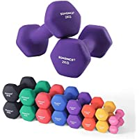 SONGMICS Set of 2 Dumbbells with Vinyl Coating - 0.5kg, 1 kg, 1.5 kg, 2 kg, 3 kg, 4 kg & 5 kg - Varied Weights & Colors, All-purpose Gym and Home Workouts - Waterproof and Non-Slip with Matte Finish
