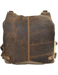 Preisvergleich für Newvine Damen Herren Canvas Leder Tasche Rucksack Schultertasche Daypack für Freizeit Sports