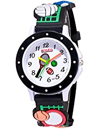 Kidzo Analogue Boys' Watch (White Dial Black Colored Strap)