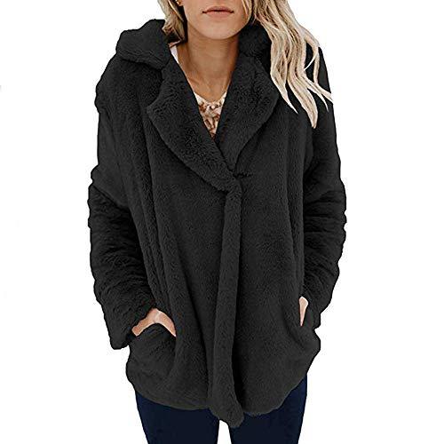 engel kinderkleidung VRTUR Damen Wintermantel Lies Winter Warm Lässig Öffnen Vorderseite Jacke Mit Taschen Winterjacke Oberbekleidung(XL,Schwarz)