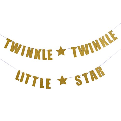 OULII TWINKLE TWINKLE LITTLE STAR Papier Banner Hängende Girlande für Geburtstag Baby Dusche Party Dekoration (Star Dekorationen Party)