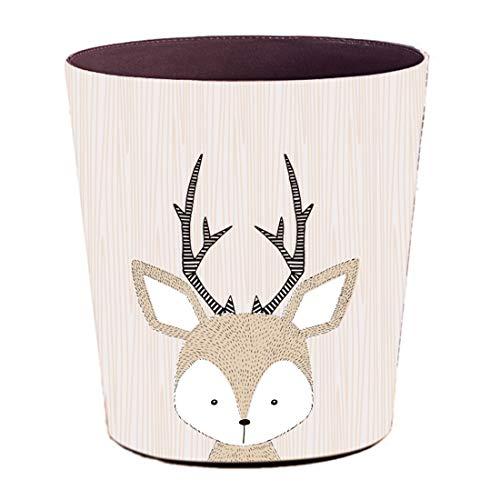 Foxom 10L PU Leder Cartoon Tier Mülleimer Abfalleimer Müllsammler Papierkorb Motif für Kinderzimmer/Büro/Küche/Schlafzimmer (Hirsch)