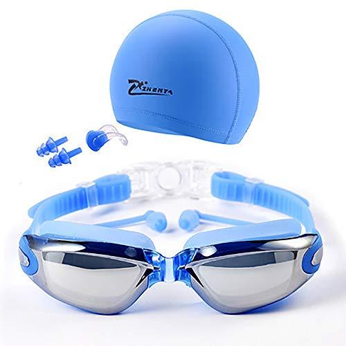 ZUZEN Schwimmen Sie Goggle Adult Rezept-Schwimmen-Goggles mit Hut Ear Plug Nose Clip Case, HD Anti-Fog Waterproof Swiming Goggles Suit,Blue