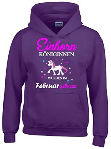 Einhorn Königinnen wurden im Februar geboren ! Unicorn LILA-HOODIE, Gr.164cm