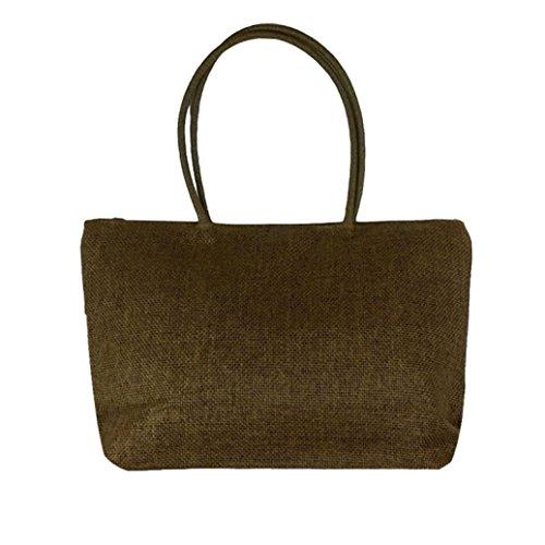 Ularma Damen Handtasche Stroh Polyester Einfach Einstellbar Schultertasche abziehbar Handbag Braun