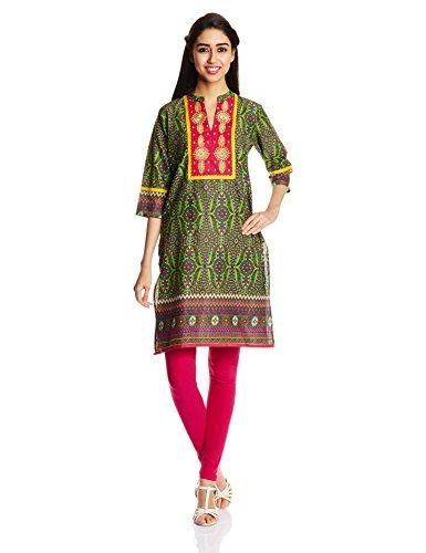 Shree Women's Straight Fit Kurta (14343/C_FUCHSIA MULTI_L)  available at amazon for Rs.359