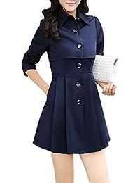 Yasong Women's Long Sleeve Single Breasted Cape Coat Jacket Trench Coat