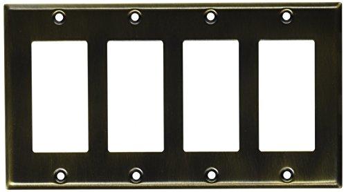 Baldwin Wall Plate (Baldwin 4742050Quadruple GFCI abgeschrägte Kante Switch Plate, Messing antik)