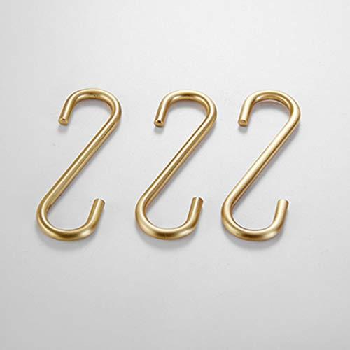 S Haken 3 Stück zum Aufhängen, Edelstahl Haken Kleiderbügel für Küche Bad Schwerlast,Gold Gebürstet