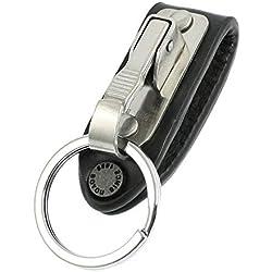 SODIAL(R) Cadena de llave aro de cinturon de cuero falso diseno de llavero de acero inoxidable
