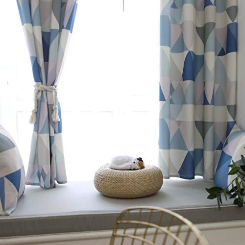 GZ-curtain Vorhänge - Wasserdichte Polyester Baumwolle Halbschattierung - Geometrischer Druck - Vorhänge Wohnzimmer Schlafzimmer Balkon - Custom Stoff 140 * 215cm blau