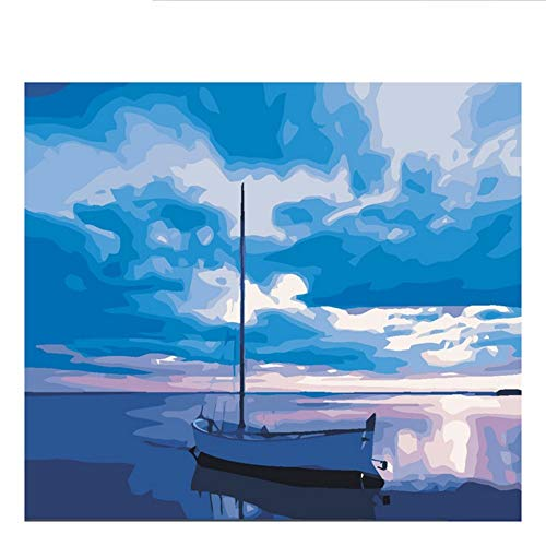 Waofe Quiet Sea Boat Diy Painting By Numbers Abstract Blue Sky Oil Painting On Canvas Picture Decor Acrylic Wall Art,40X50Cm,With Frame