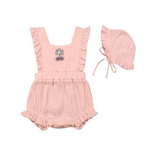 Neugeborene Baby Mädchen Kleidung Spielanzug Strampler miot Hut Prinzessin Gekräuselte Bowknot Baby Toddler Sommer Party Bodys Einteiler, Rosa mit Hut, 70 für 0-6 Monate